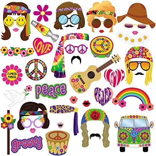 BizoeRade - Kit de accesorios para fotomatón de los años 60, 45 piezas, temática hippie de los años 60, para fiestas de cumpleaños, bodas, decoraciones