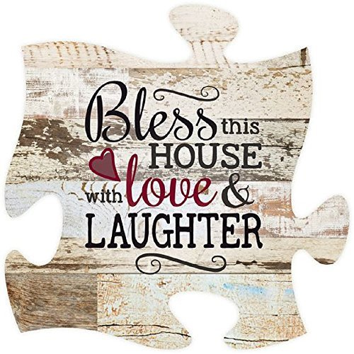 This House with Love & Laughter Distressed 12 x 12 Holz Wand Kunst Puzzle Stück Plaque ()