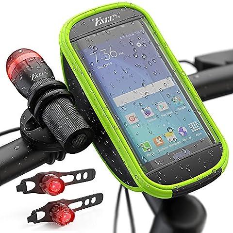 Zizz 24–7d'éclairage lumière de vélo avec ensemble de sacoche de guidon–Ultra Lumineux LED avec visibilité à 180°, pochette étanche pour téléphone portable–Cycle lumières pour VTT, Route de