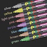 Umitive 8pcs Stylo Liquide Marqueur Craie, Vibrante Couleurs Métalliques,6mm Feutre Pointe, Crayon Craie pour Tableau Noir, Ardoise, Verre, Lumineux, Fenetre