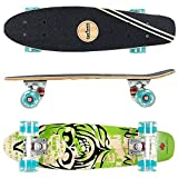 FunTomia Mini-Board Cruiser Skateboard 57cm aus 7-lagigem kanadischem Ahornholz inkl. Mach1 ABEC-11 Kugellager - mit Oder Ohne LED Rollen (Grün Totenkopf2/mit Petrol LED Rollen)