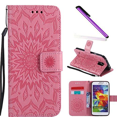 COTDINFOR Galaxy S5 Funda Flores Cierre Magnético Billetera con Tapa para Tarjetas de Cárcasa Elegante Retro Suave PU Cuero Caso Protectora Case para Samsung Galaxy S5 Sunflower Pink KT