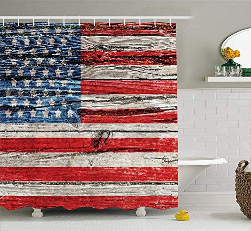 JIEKEIO American Flag Shower Curtain USA Decor, Painted Old Wooden Panel Wall Looking Freedom Symbol Print, Polyester Fabric Bathroom Set with Hooks, 60 * 72inch Long, Blue Red -