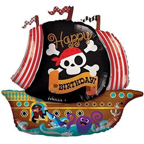 Caleidoscopio pirata barco Foil Globo de plástico, 5piezas