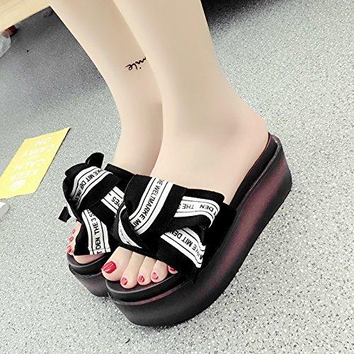 RUGAI-UE Estate pantofole a fine pendenza di spugna spesso donne High-Heeled Scarpe comfort Slip Black