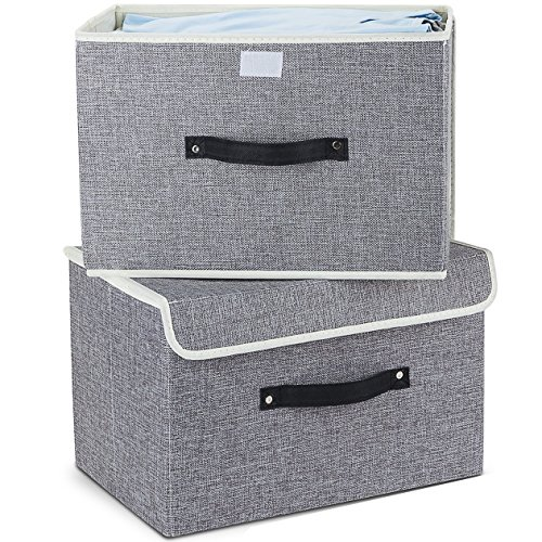 Aufbewahrungsbox mit Deckel 2er-Set, Meelife Faltbare Faltbare Aufbewahrungsbehälter Box für Wäsche und Lagerung Crate Cloth Box Nutzbare Stoff Kiste Schublade Schlafzimmer (Grau) (Regal Extra Bücherregal)