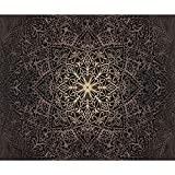 decomonkey | Fototapete Mandala 350x256 cm XL | Tapete | Wandbild | Wandbild | Bild | Fototapeten | Tapeten | Wandtapete | Wanddeko | Wandtapete | Orient Muster Ornament schwarz braun