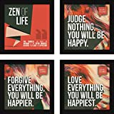 #9: Wall Paintings For Living Room With Frames - Inspirational Motivational Buddha Quotes - Set of 4