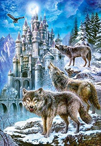 Unbekannt Puzzle 1500 Teile - Wölfe am Schloß - im Winter - Schnee / Fabelwelt - Zeichnung gemalt - Wildtiere Wolf Burg Märchen im Winter - bei Nacht mit Mond