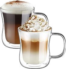 ecooe Doppelwandige Latte Macchiato Glaser Set Thermoglas Trinkgläser Kaffeeglas 2-teiliges 350ml (Volle Kapazität)