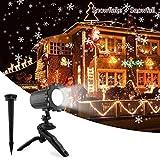 UNIFUN Proiettore Luci Natale Esterno Effetto Fiocco di Neve Proiezione Lampada LED Impermeabile Illuminazione Giardino Rotante Faretti per Natale, Matrimonio, Compleanno, Festa, Giardino