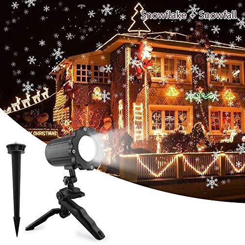 LED Schneeflocke Projektor Licht, UNIFUN Wasserdicht Schneefall Weihnachtsbeleuchtung Aussen LED Projektionslampe für Außen und Innen Deko,Partys, Weinachten und Feiertage