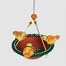 ExclusiveLane Terracotta Handpainted Bird Feeder for Garden -Garden Decor Decorative Hanging Outdoor Living