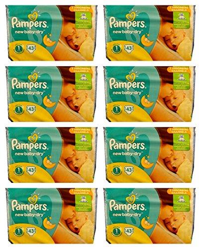 344 (8x43) Pampers Windeln New Baby DRY Gr. 1, 2-5 KG (Gewicht: 2-5KG) NEWBORN