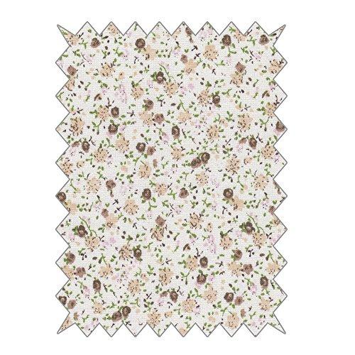 RAYHER 53692508 Baumwoll- Stoff, Rosen, 100x70cm, 110G/M2, SB-Karte 1 Stück, Baumwolle, Beige, 24 x 13 x 1.3 cm