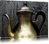 stilvolle alte Teekanne aus Metall auf Leinwand, XXL riesige Bilder fertig gerahmt mit Keilrahmen, Kunstdruck auf Wandbild mit Rahmen, günstiger als Gemälde oder Ölbild, kein Poster oder Plakat