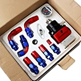 SYM TOP Adjustable Fuel Pressure Regulator AN6 Hose End Fittings Oil Line And Gauge Kit - Red and Blue