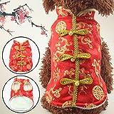 Vestiti del cane, raso di seta vestito di linguetta Costume Pet piccolo cane giacca siamese Hallowmas Natale cinese di nuovo anno inverno festivo cappotto caldo 5 ( Color : Red , Size : L )