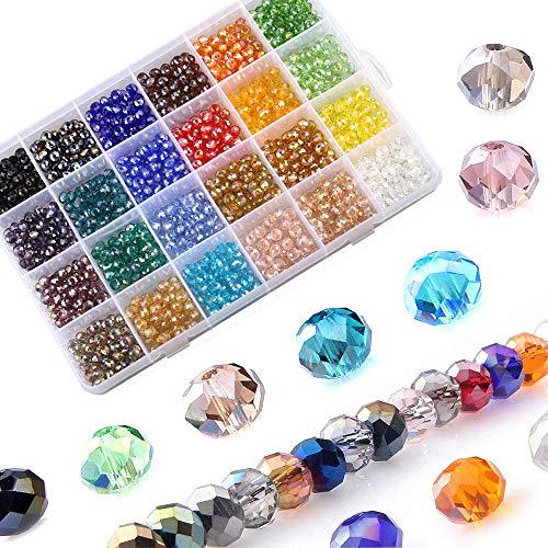 LABOTA 1200 Stück Facettierte Glasperlen Rondelle Kügelchen 24 Farben Perlen mit Aufbewahrungsbox für DIY Schmuck Armbänder Herstellung Basteln
