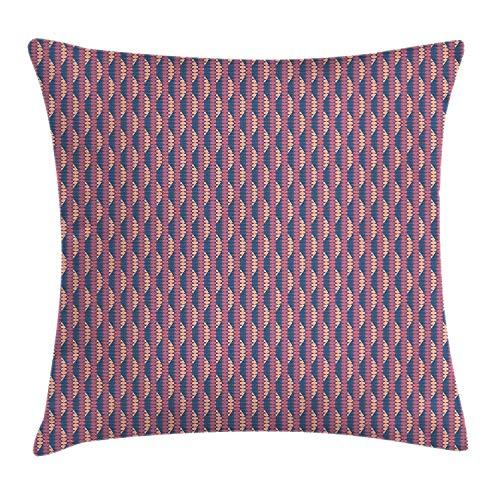 tyui7 Abstrakte Dekokissen Kissenbezug, afrikanisches ethnisches Muster mit Sechseck-Dreiecken und Retro-Effekt, quadratischer Akzent-Kissenbezug, 45 x 45 cm, Hellorange Dunkelbraun