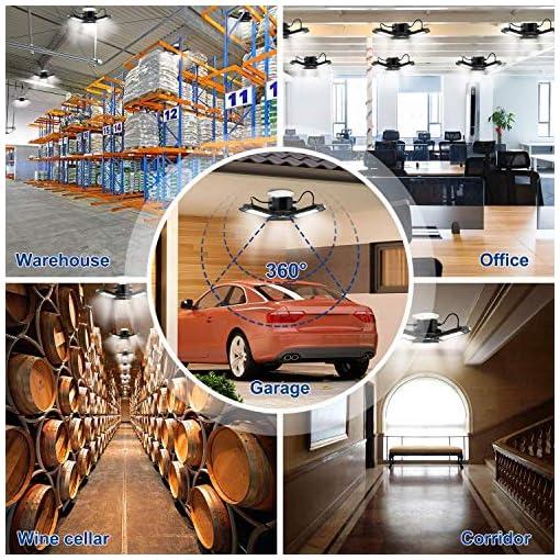 Deformazione a LED per Garage, LACYIE Plafoniere da 6000lm Connettore E26/E27 del Garage Store Luci del Garage con 3 Pannelli Regolabili 60W IP65 Impermeabile Bianco Freddo