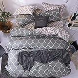 Bedding Set of 6 Pieces King Size Grey Geometric Design