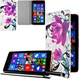 Ownstyle4you - Etui Wallet Coque Housse PREMIUM Portefeuille Eco Cuir Side Microsoft Lumia 640 LTE Touchpen Flower