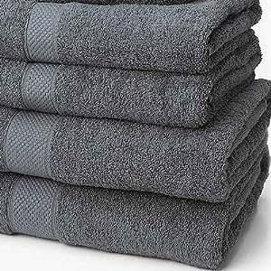 linens limited serviette de bain 100 coton turc gris cuisine maison. Black Bedroom Furniture Sets. Home Design Ideas