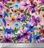 Soimoi Rosa Satin Seide Stoff Blume & Blätter Aquarell