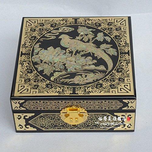 Vintage Holz Lack-Schmuck-Box/ Ornament Aufbewahrungsbox -