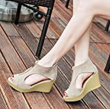 Tefamore Women Casual Peep Toe Wedges Sandals Summer Sandals (37, Khaki)