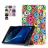Galaxy Tab A6 10.1 Slim Smart Hülle Case - PU Leder Schutzhülle Case für Samsung Galaxy Tab A (2016) SM-T580N/T585N 25,54 cm (10,1 Zoll) Tasche Skin Sleeve Smart Cover mit Standfunktion (#2 Bunte Spirale drehen)