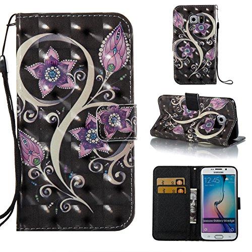 Cozy Hut Coque Samsung Galaxy S6 Edge, Etui pour Samsung Galaxy S6 Edge Housse en Cuir de Protection, Portefeuille en Cuir Polyuréthane, Crochet, Pochette Monnaie, Fermeture Magnétique