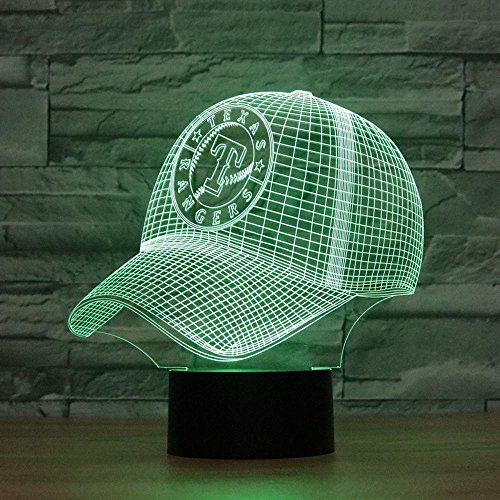 Für Texas Die Dekorationen Party (Lozse 3D Nightlights, Texas Rangers Baseball-Cap 3D Lichter bunten Touch-LED-Lampe Tischlampe, bestes Geschenk für Freunde Kinder)