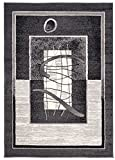 Carpeto Klassisch Teppich Grau 150 x 300 cm Bordüre Muster Kurzflor Monaco Kollektion