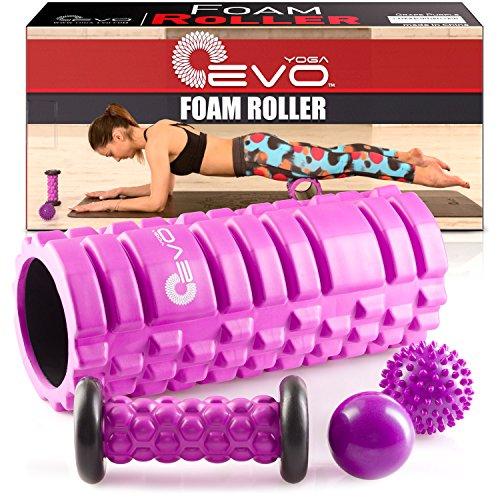 Yoga Foam Roller EVO Bundle - 2 palline da massaggio e piede massaggiatore stick - Rullo strutturato ad alta densità, 33 cm (Viola)
