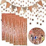 Kaari 4 Pezzi Tende Orpello Metallico,Ghirlanda a Forma di Stella,Bandiera per Festa di Compleanno Matrimonio (Oro Rosa)