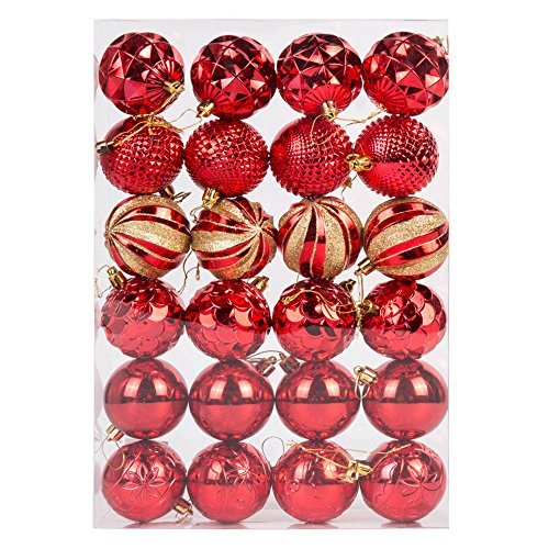 Luxe incassable Boules de Noël (60 mm) 24 x Assorties Rouge