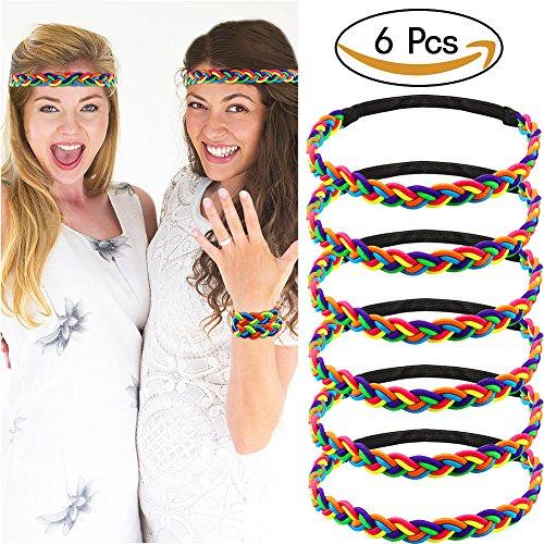Vamei Arco iris Las mujeres del hairband 6pcs arco iris diadema lazos de pelo trenzado pulsera pulseras regalo del partido