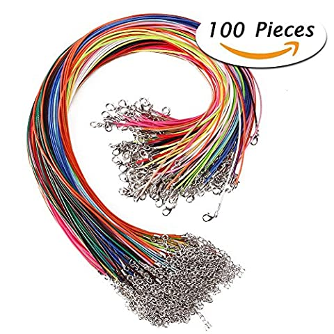 Juanya 100 Pcs 18 Inches 1.5mm Waxed Necklace Cord with Lobster Clasp for Jewelry Making, Mixed