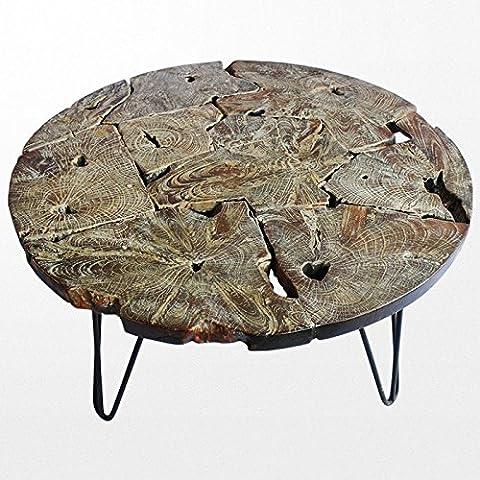 Table basse en bois avec plateau et pieds en fer