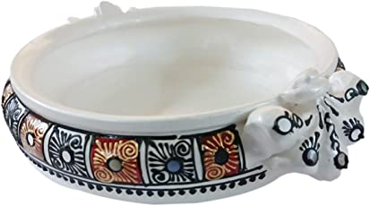 Shabana Art Potteries Handmade Earthenware/Clay Pearl Decorative Bowl(White)
