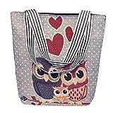VJGOAL Damen Schultertasche, Damen Mädchen Cartoon Eule Canvas Handtasche Schultertasche...