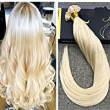 Ugea Bleach Blond Remy Echthaar Extensions Bondings 50 Echthaarstrahnen 24
