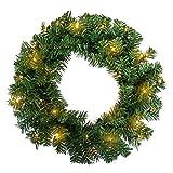 AUFUN PVC Ø45cm Weihnachtskranz mit 60 LEDs Warmweiß für tür deko außen - Weihnachtsdeko Türkranz Weihnachten Garland mit Roten Beeren und Tannenzapfen (Grün PVC,Ø45cm mit LED)