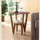 YXLAB Beistelltisch Sofa Corner Ein Paar Runde Kleine Couchtisch Massivholz Einfache Wohnzimmer Kleine Wohnung American Kleine Runde Tisch (Farbe : Nussbaum)