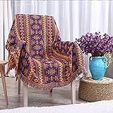 HYSENM Kuscheldecke Baumwoll Farbecht Und Weich Krumpfecht Mit Fransen Muti-Funktion Mehrfarbig Wohndecke Sofadecke Sofaüberwurf, bunt, 130 * 180cm