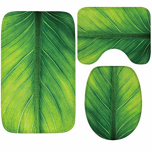 X-Life 3-Teiliges Badezimmer Teppich Set - Badematte 40x50cm, Badteppich 50x80cm und WC-Deckel-Bezug 35x45cm- Badematten Rutschfest & Waschbar mit Ausschnitt, aus Weicher Kunstfaser, Grün