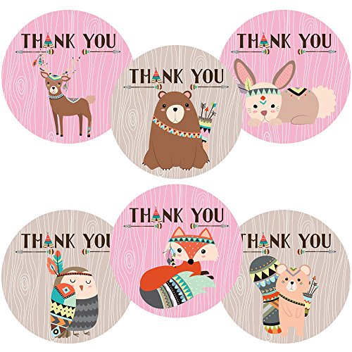 Adorebynat Party Decorations - EU Mädchen-Stammes- Waldwaldtier danken Ihnen Aufkleber Aufkleber - Geburtstags-Baby-Duschen-Party - Set 30 (Ihnen Braut-dusche Danken)