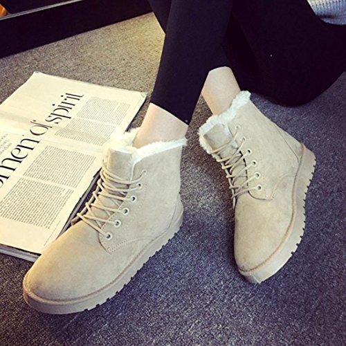 Bottes et boots,Transer® Mode féminine neige Bottines plates à lacets fourrées hiver bandage Bottes Beige